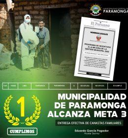 MUNICIPALIDAD DISTRITAL DE PARAMONGA CUMPLE META 3 DEL PROGRAMA DE INCENTIVOS A LA MEJORA DE LA GESTIÓN MUNICIPAL 2020